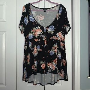 Torrid Babydoll High-Low Floral Tunic Blouse